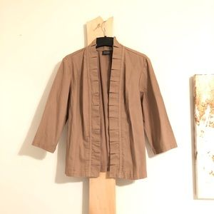 Ruffle Jacket Blazer Kimono style Tan cover up o